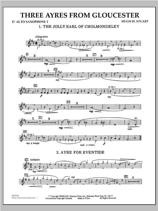 Three Ayres From Gloucester - Eb Alto Saxophone 2 Sheet Music