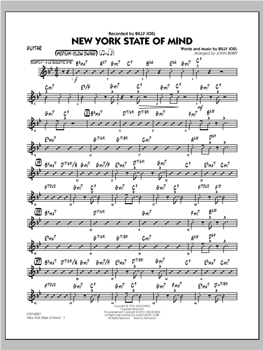 New York State Of Mind - Guitar Sheet Music