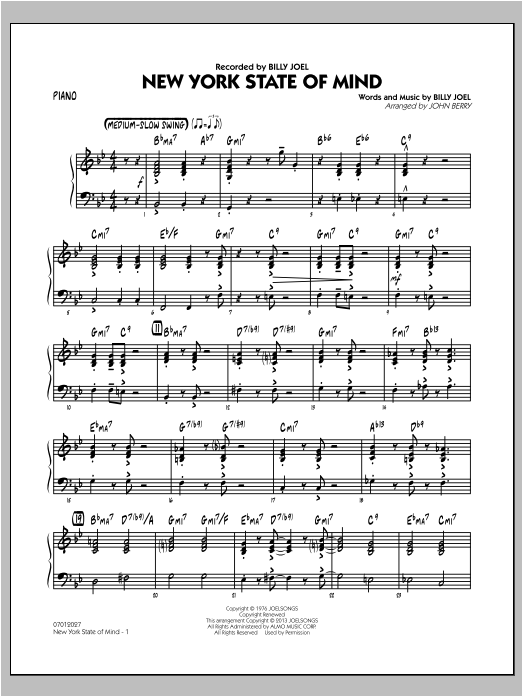 New York State Of Mind - Piano Sheet Music