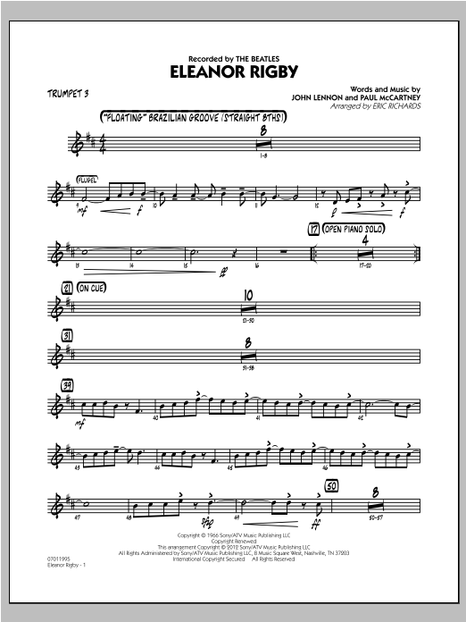 Eleanor Rigby - Trumpet 3 Sheet Music