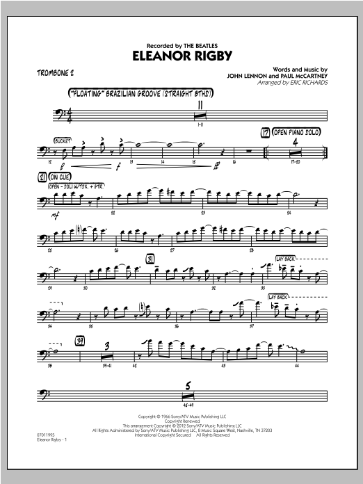 Eleanor Rigby - Trombone 2 Sheet Music