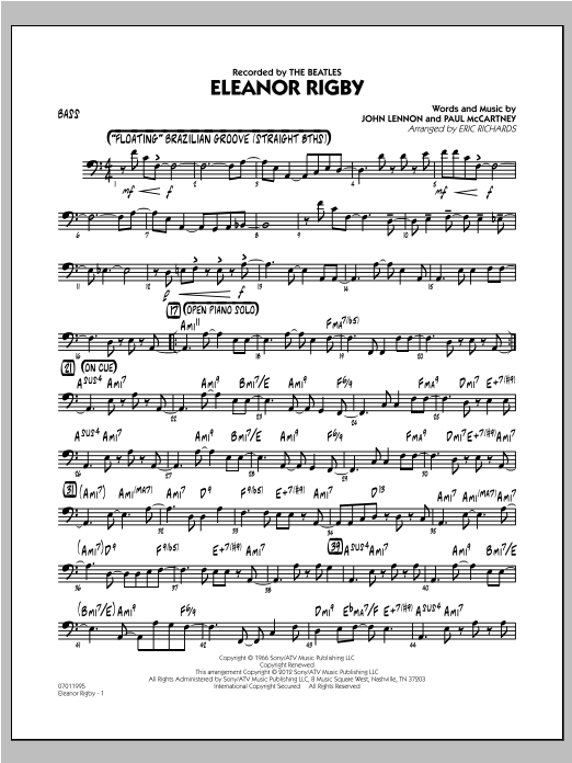 Eleanor Rigby - Bass Sheet Music