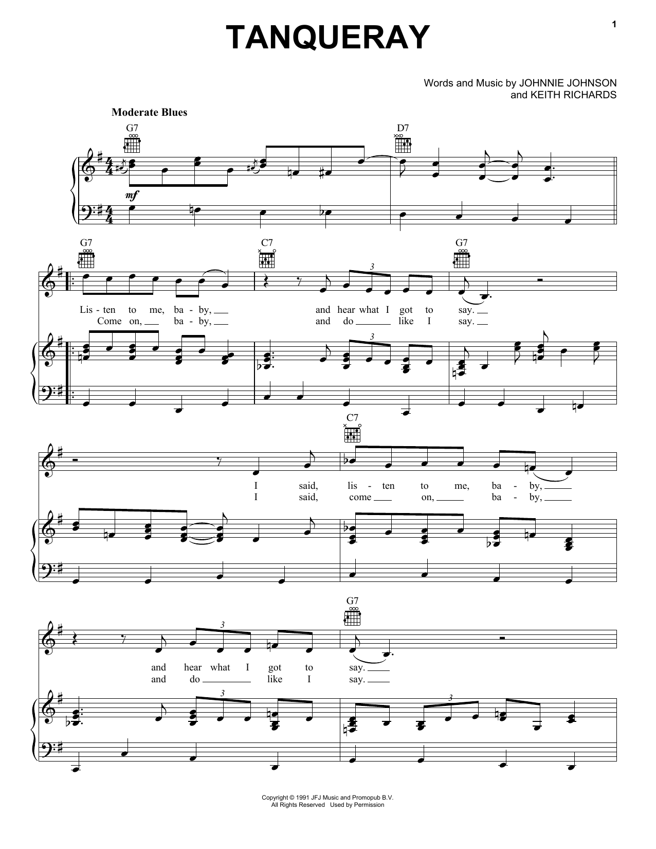 Tanqueray (Piano, Vocal & Guitar (Right-Hand Melody))