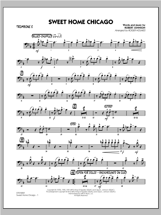 Sweet Home Chicago - Trombone 2 Sheet Music