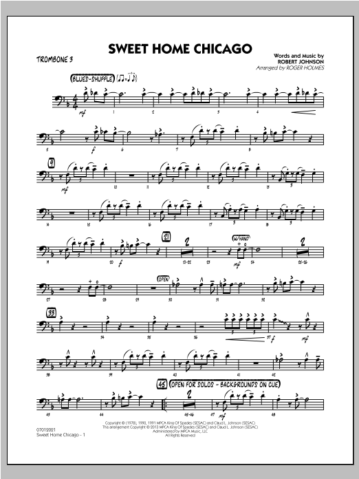 Sweet Home Chicago - Trombone 3 Sheet Music