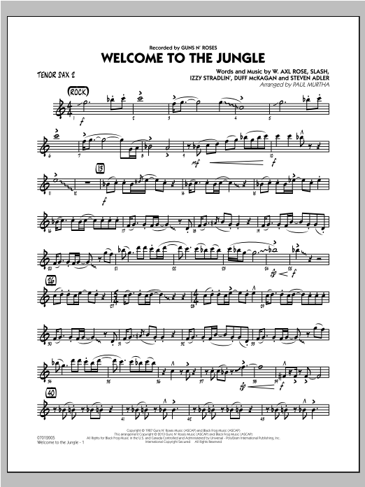 Welcome to the Jungle - Tenor Sax 2 Sheet Music