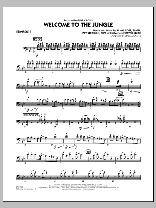 Welcome to the Jungle - Trombone 1 Sheet Music