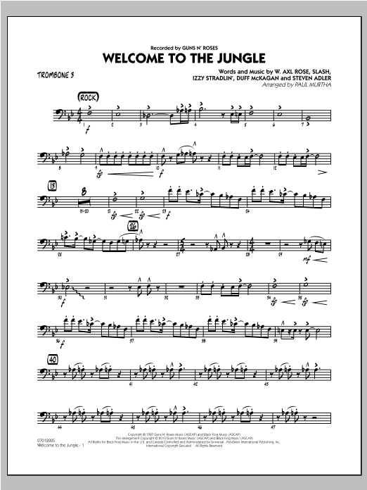 Welcome to the Jungle - Trombone 3 Sheet Music