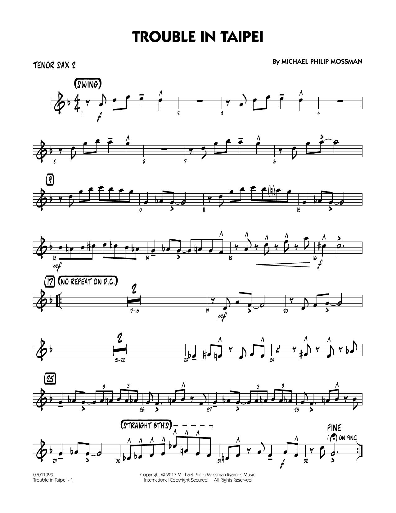 Trouble In Taipei - Tenor Sax 2 Sheet Music