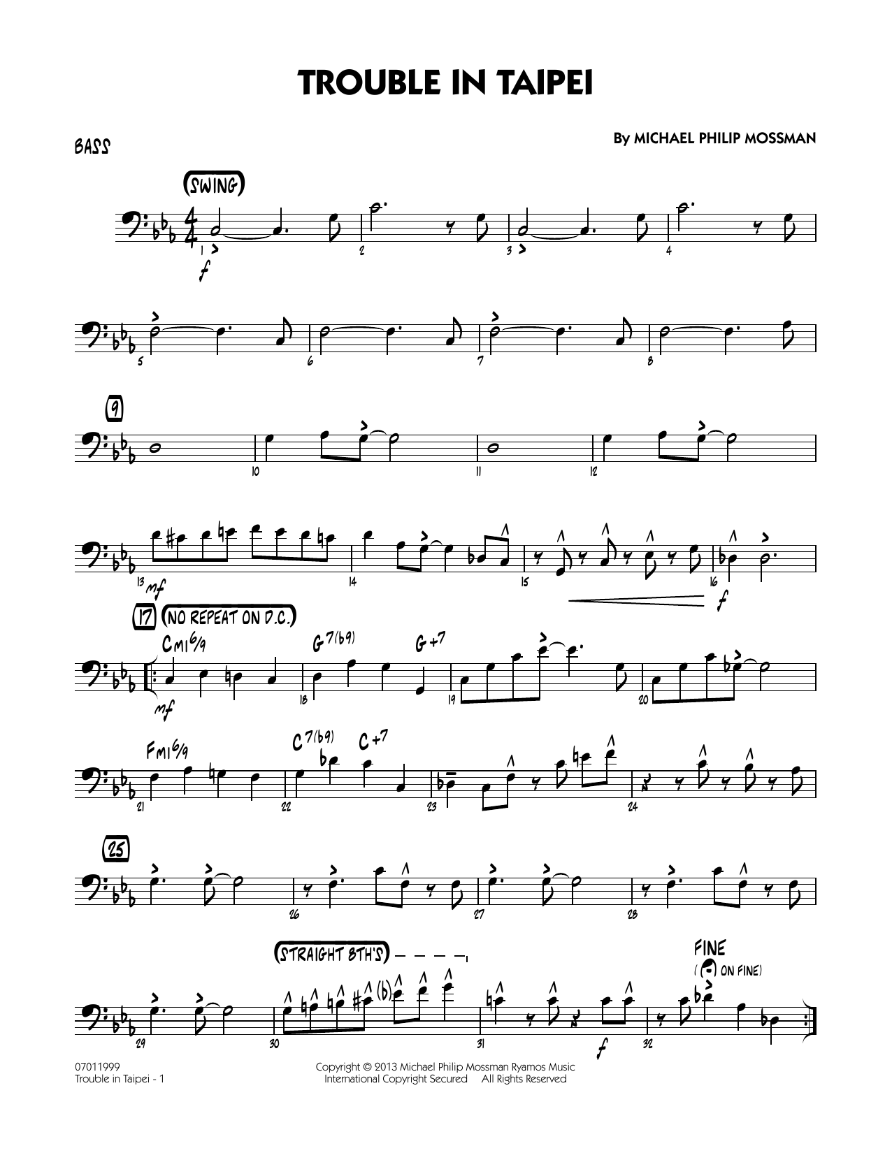 Trouble In Taipei - Bass Sheet Music