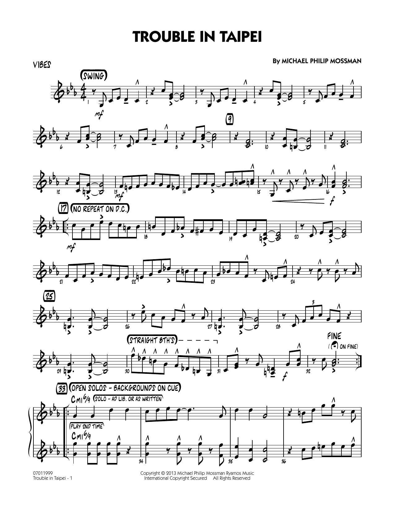 Trouble In Taipei - Vibes Sheet Music