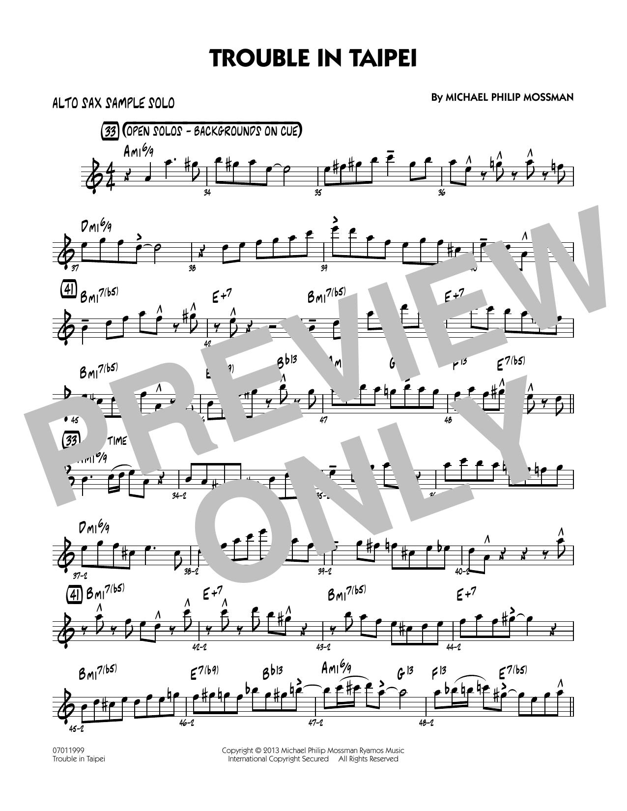 Trouble In Taipei - Alto Sax Sample Solo Sheet Music
