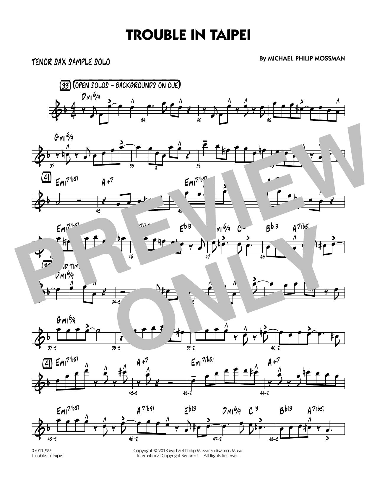 Trouble In Taipei - Tenor Sax Sample Solo Sheet Music