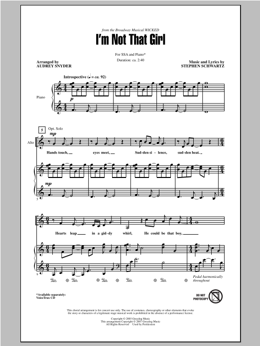 I'm Not That Girl (from Wicked) (arr. Audrey Snyder) Sheet Music