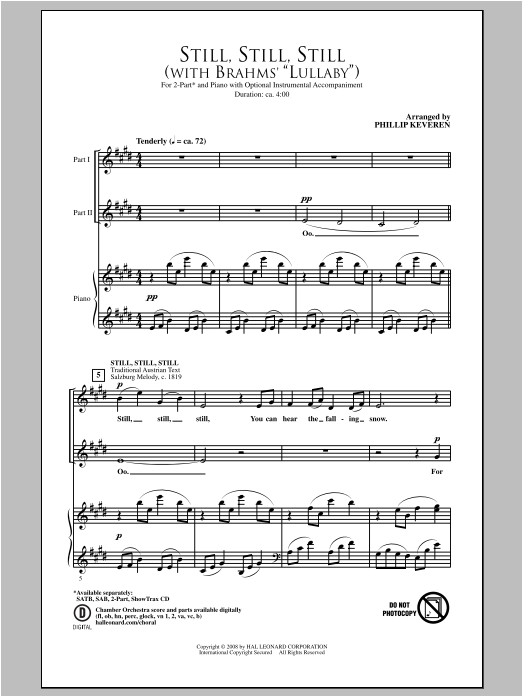 Still, Still, Still (with Brahms Lullaby) (arr. Phillip Keveren) Sheet Music
