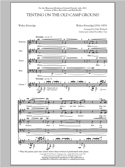 Partition chorale Tenting On The Old Camp Ground de Dale Warland - SATB