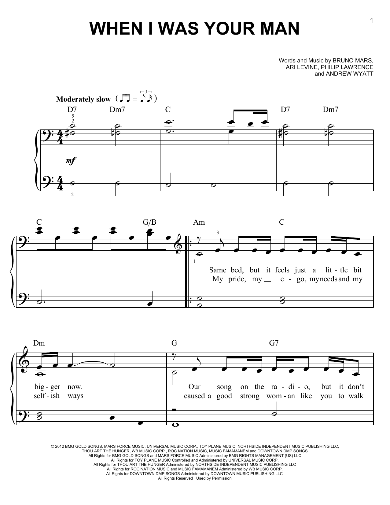 Piano piano tabs piano man : When I Was Your Man sheet music by Bruno Mars (Easy Piano – 95875)