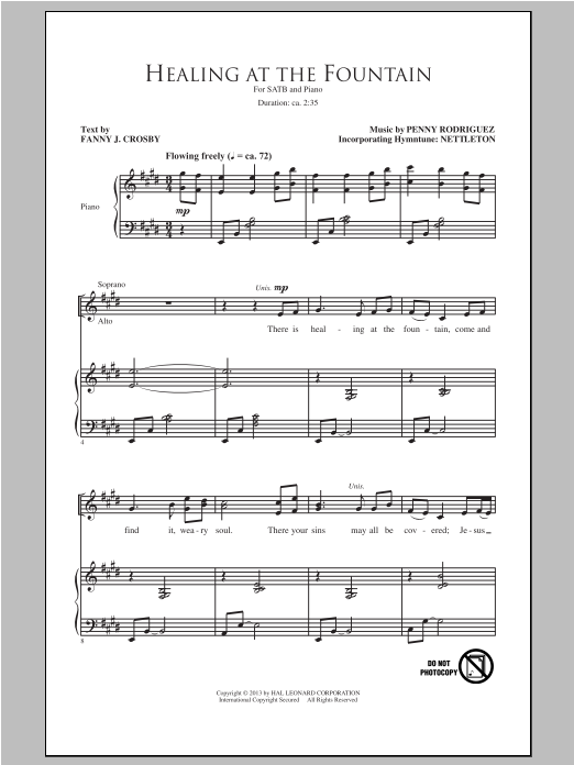 Partition chorale Healing At The Fountain de Penny Rodriguez - SATB
