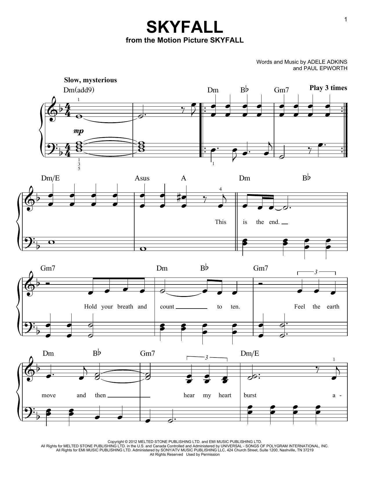 Skyfall sheet music by Adele (Easy Piano – 95895)  Skyfall sheet m...