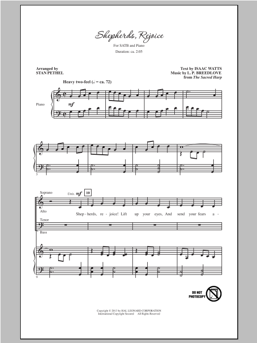 Shepherds, Rejoice (arr. Stan Pethel) Sheet Music