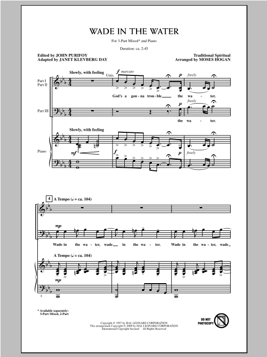 Wade In The Water (arr. Moses Hogan) Sheet Music