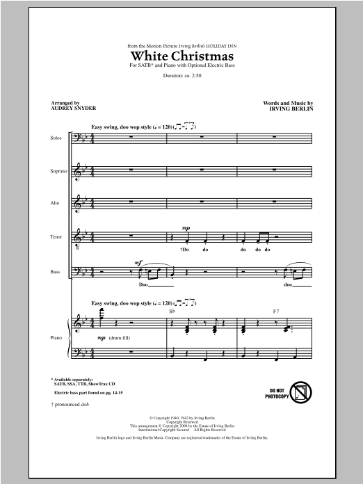 White Christmas (arr. Audrey Snyder) (SATB Choir)