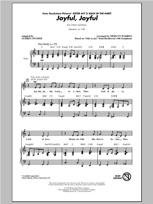 Joyful, Joyful (from Sister Act 2) (arr. Audrey Snyder) (2-Part Choir)