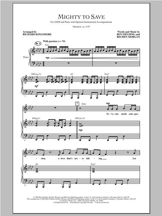 Mighty To Save (SATB Choir)