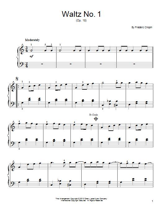 Partition piano Waltz No. 1, Op. 18 de Frederic Chopin - Piano Facile