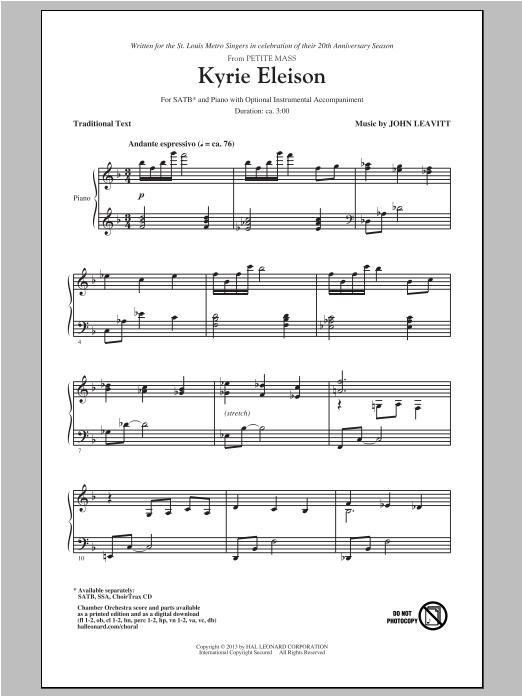 Partition chorale Kyrie Eleison de John Leavitt - SATB