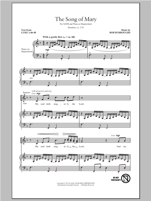 Song Of Mary Sheet Music