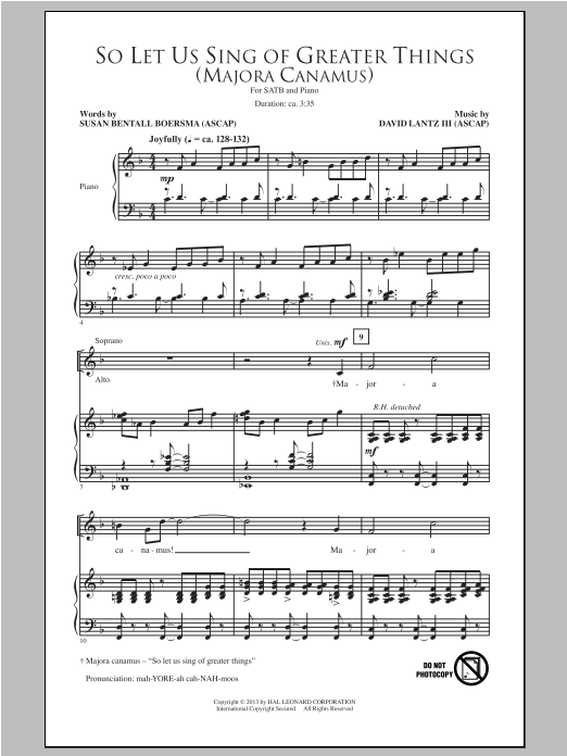 So Let Us Sing Of Greater Things (Majora Canamus) Sheet Music
