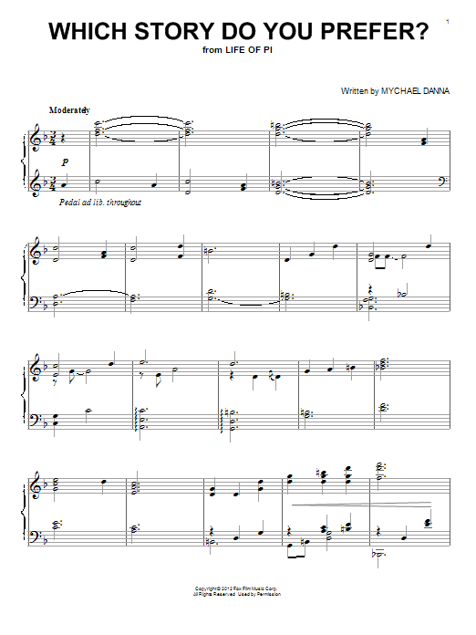 Partition piano Which Story Do You Prefer? de Mychael Danna - Piano Solo