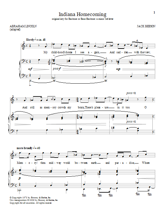 Indiana Homecoming Sheet Music