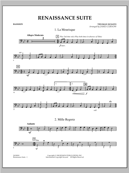 Renaissance Suite - Bassoon Sheet Music