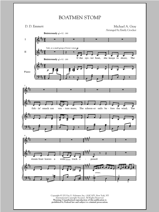 Boatmen Stomp (arr. Emily Crocker) Sheet Music