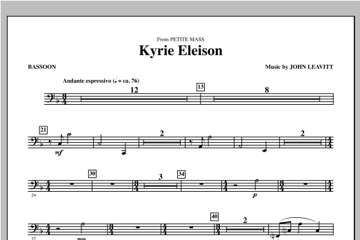 Kyrie Eleison (from Petite Mass) - Bassoon Sheet Music