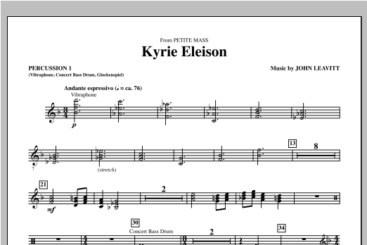 Kyrie Eleison (from Petite Mass) - Percussion 1 Sheet Music