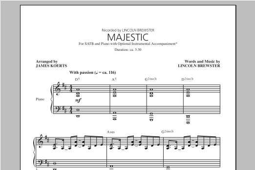 Lincoln Brewster Majestic Sheet Music