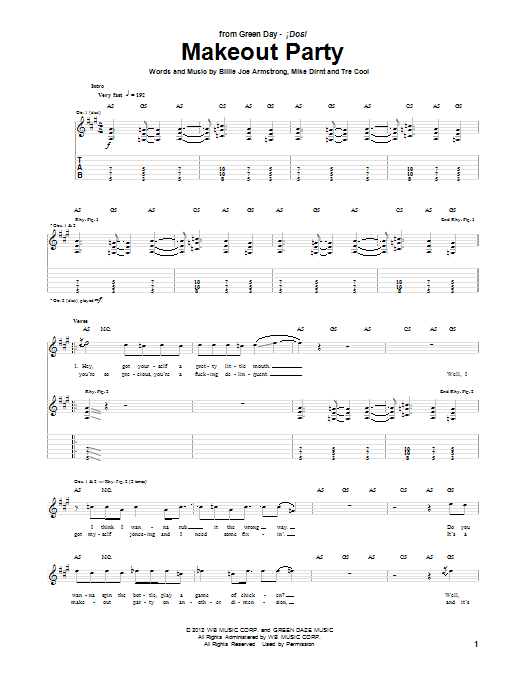 Makeout Party Sheet Music