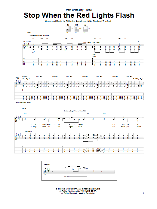 Stop When The Red Lights Flash (Guitar Tab)