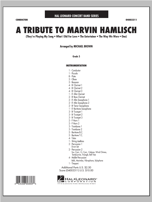 A Tribute To Marvin Hamlisch - Conductor Score (Full Score) Sheet Music