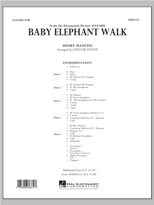 Baby Elephant Walk (COMPLETE) sheet music for concert band by Johnnie Vinson and Henry Mancini. Score Image Preview.