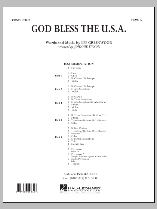 God Bless The U.S.A. (COMPLETE) sheet music for concert band by Johnnie Vinson and Lee Greenwood. Score Image Preview.