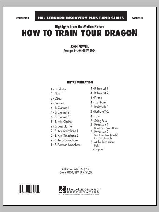 Highlights from How To Train Your Dragon (COMPLETE) sheet music for concert band by Johnnie Vinson and John Powell. Score Image Preview.