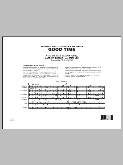 Good Time (COMPLETE) sheet music for jazz band by Paul Murtha and Owl City. Score Image Preview.