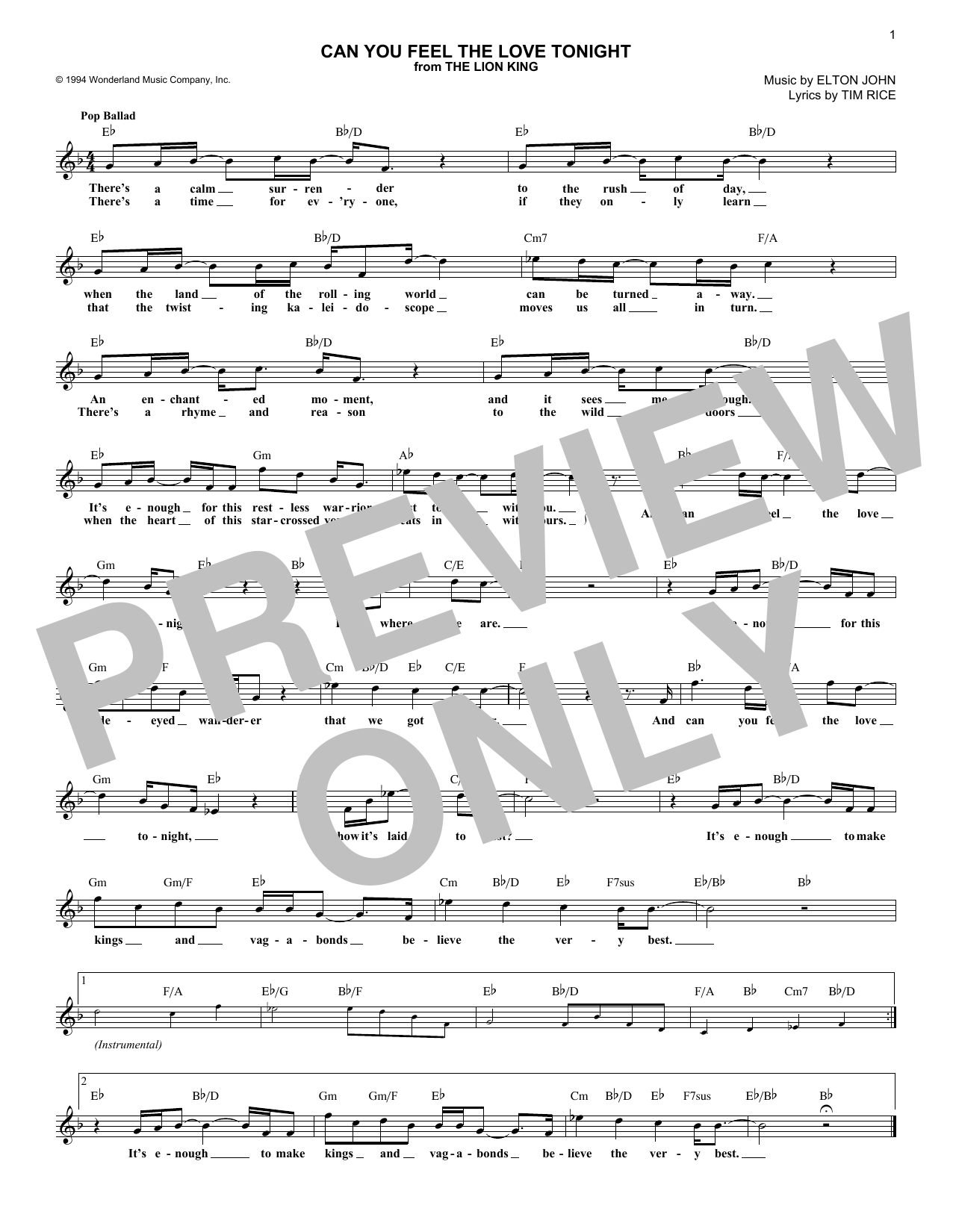 Can You Feel the Love Tonight (from The Lion King) (Lead Sheet / Fake Book)