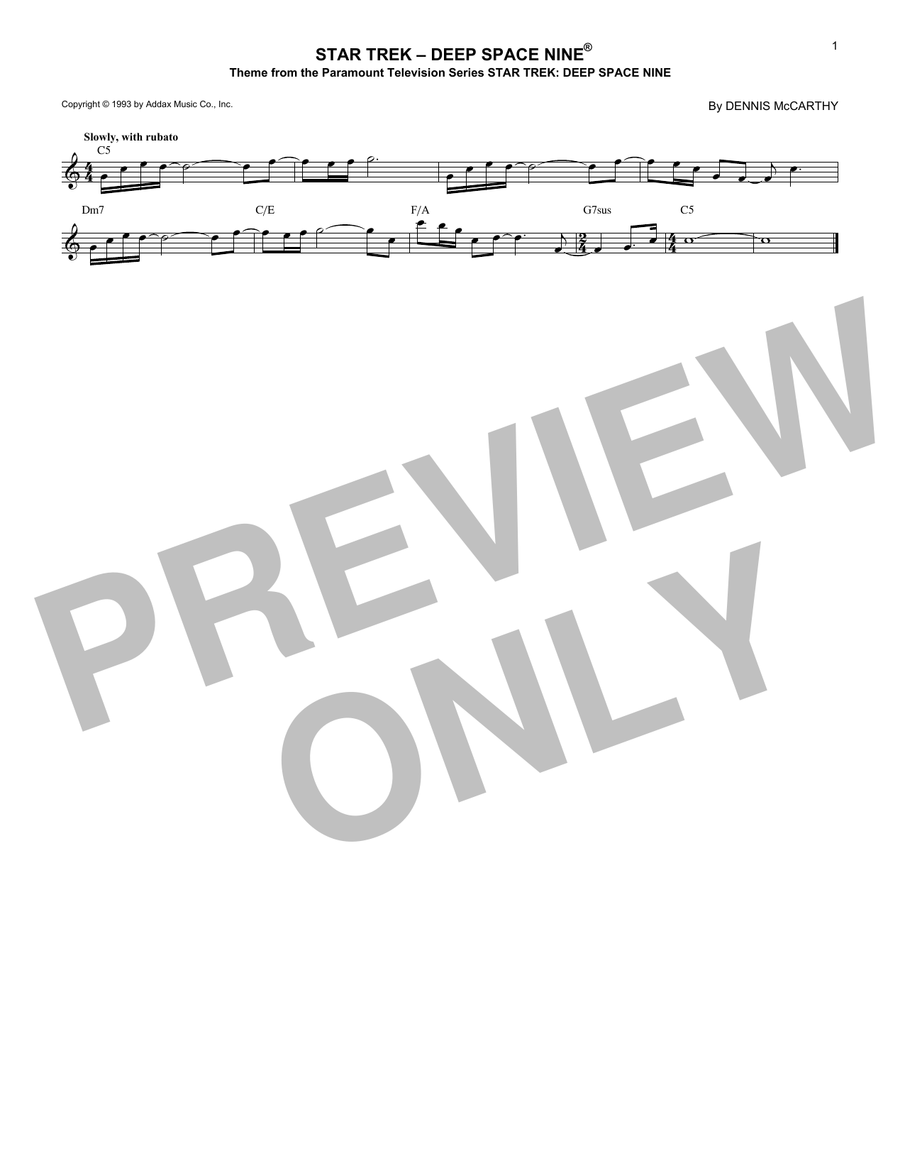 Star Trek - Deep Space Nine Sheet Music