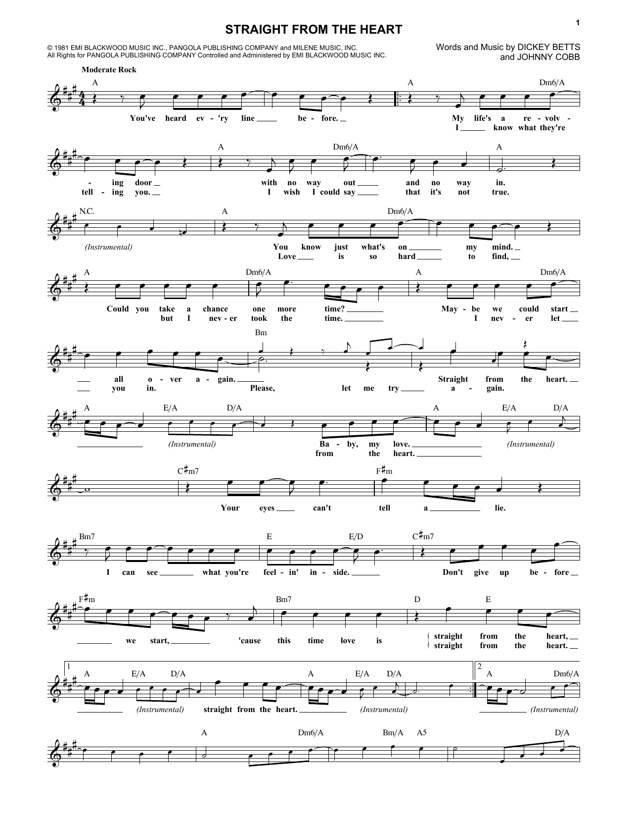 Straight From The Heart (Lead Sheet / Fake Book)