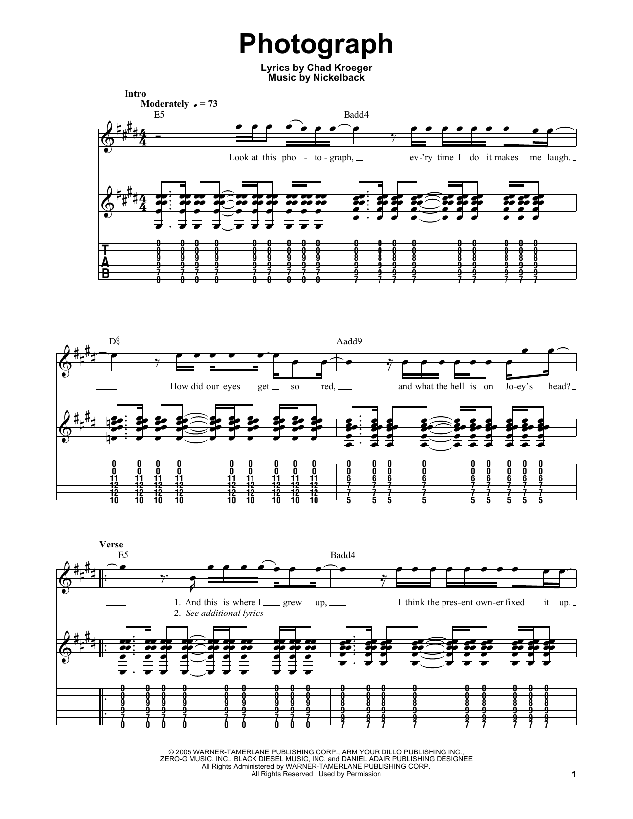 Photograph by Nickelback - Easy Guitar Tab - Guitar Instructor